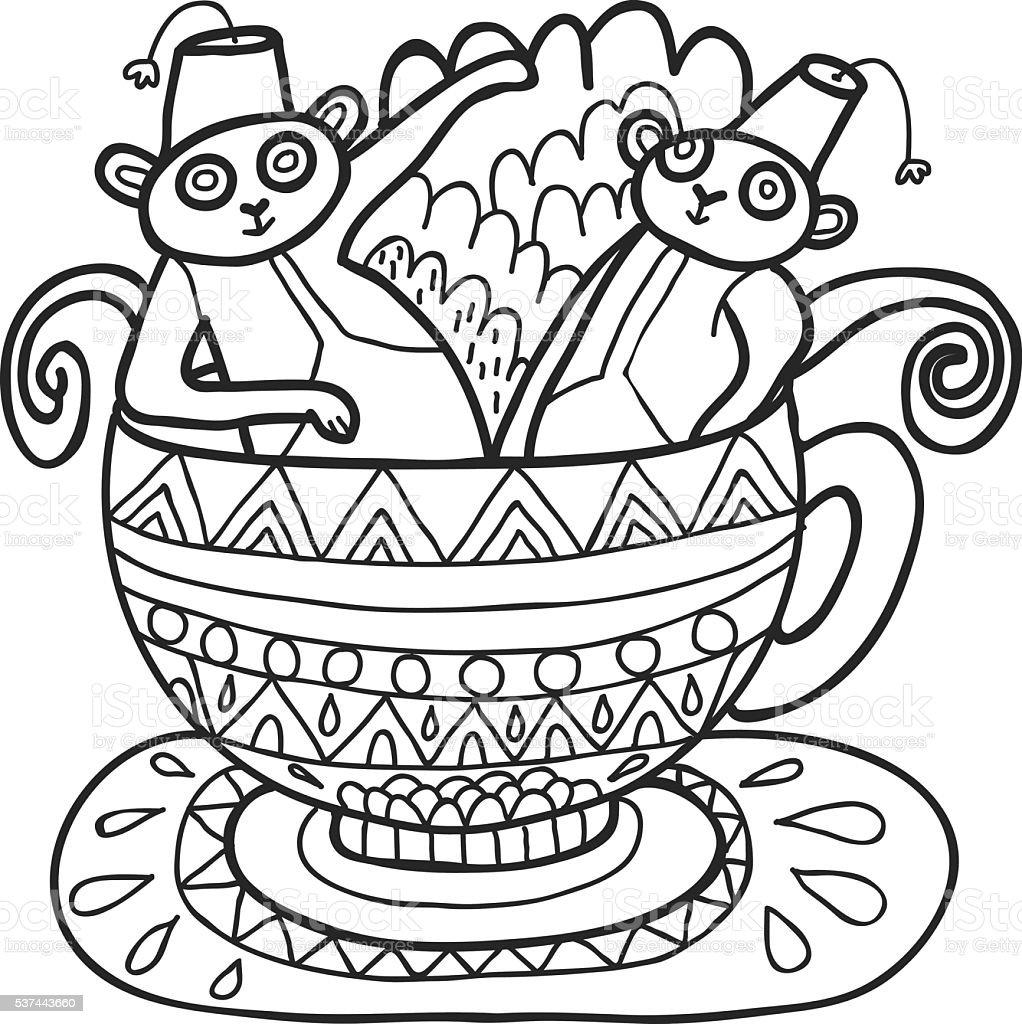 maharaja garden capuchin monkeys in tea cup for coloring stock