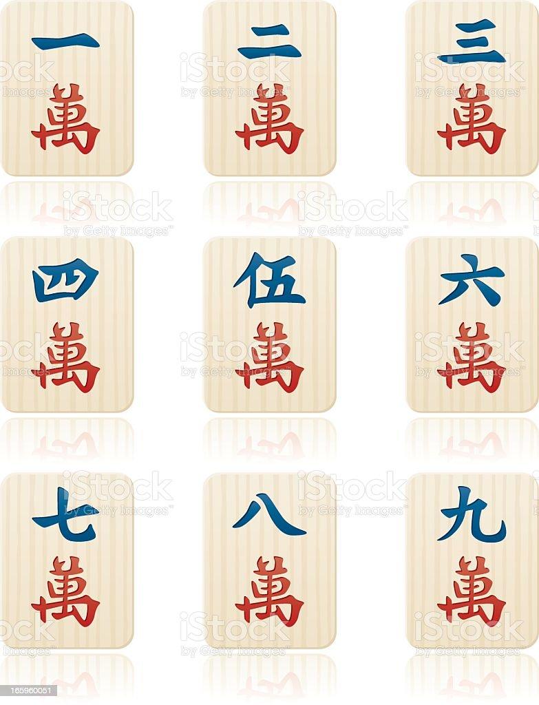 Mahjong Suits: Character Tiles royalty-free stock vector art