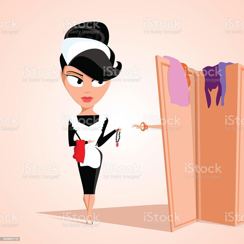 maid helps lady to dress up. Flat illustration. Vector vector art illustration