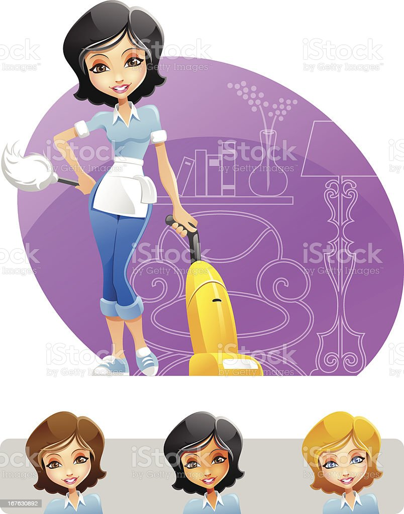 Vacuum cleaner clipart vacuum cleaner clip art -  Maid Or Cleaning Lady Holding Duster And Vacuum Cleaner Vector Art Illustration