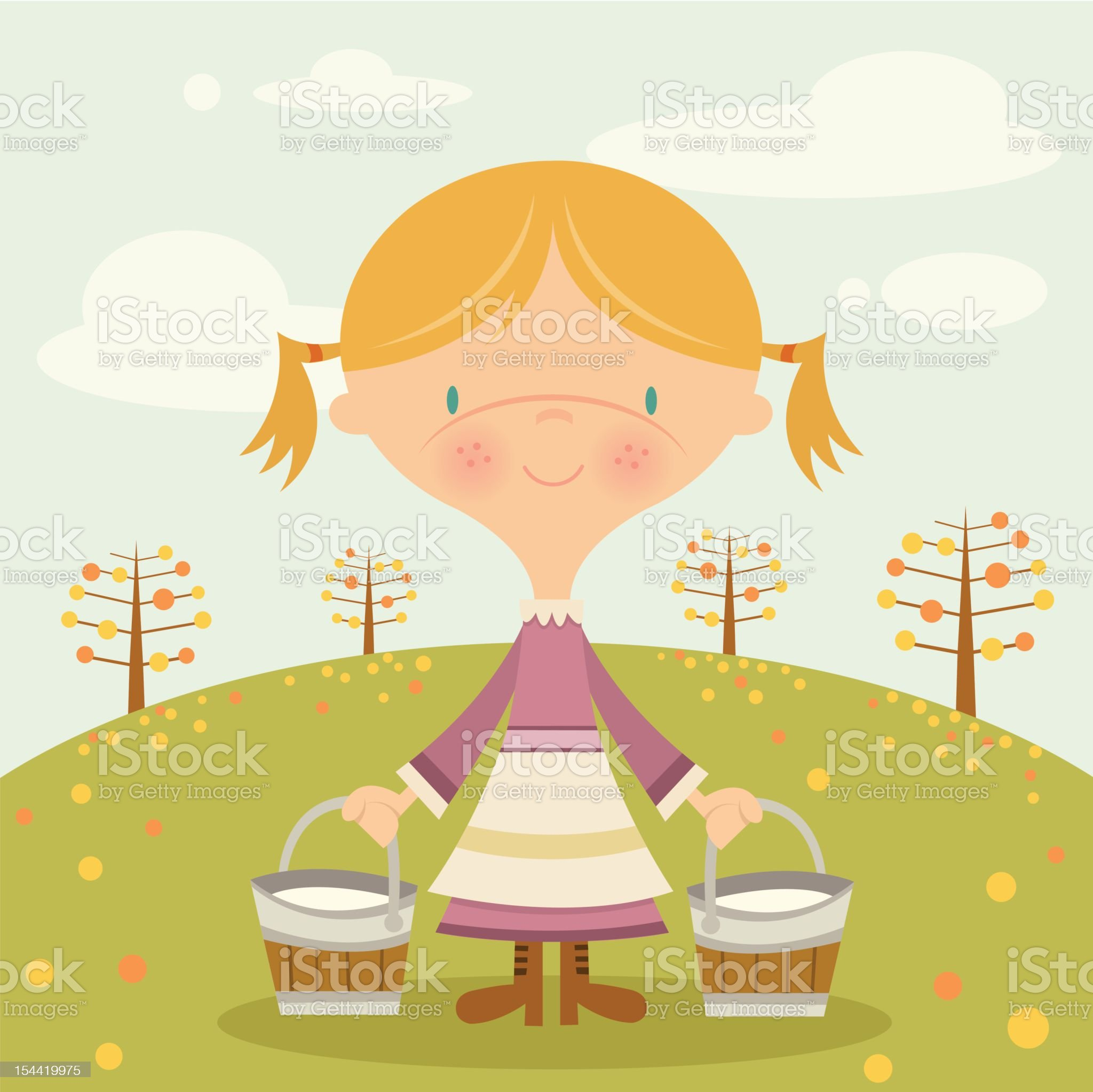 Maid with Milk royalty-free stock vector art
