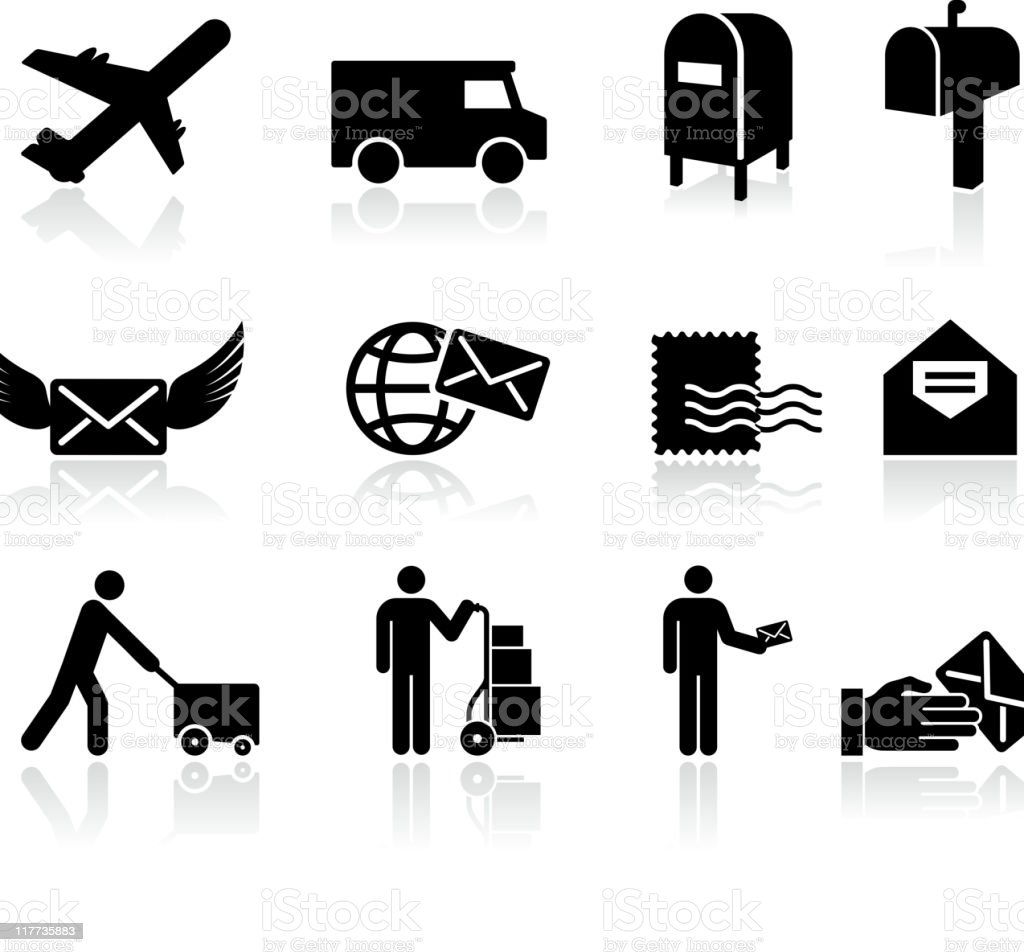 mail black and white royalty free vector icon set vector art illustration