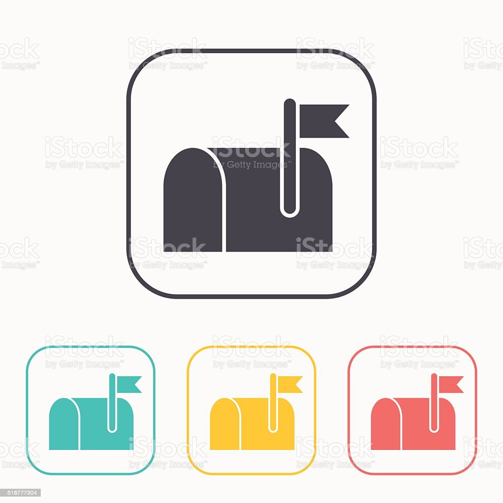 Mail box color icon set vector art illustration
