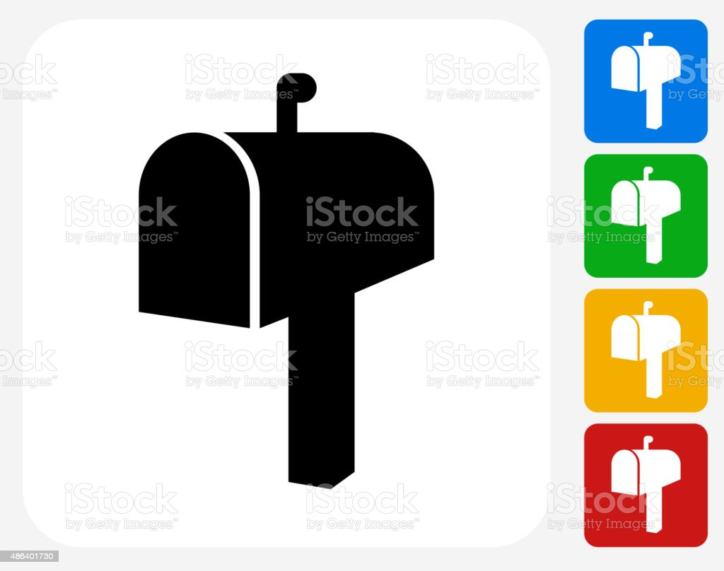 Mail Box Icon Flat Graphic Design vector art illustration