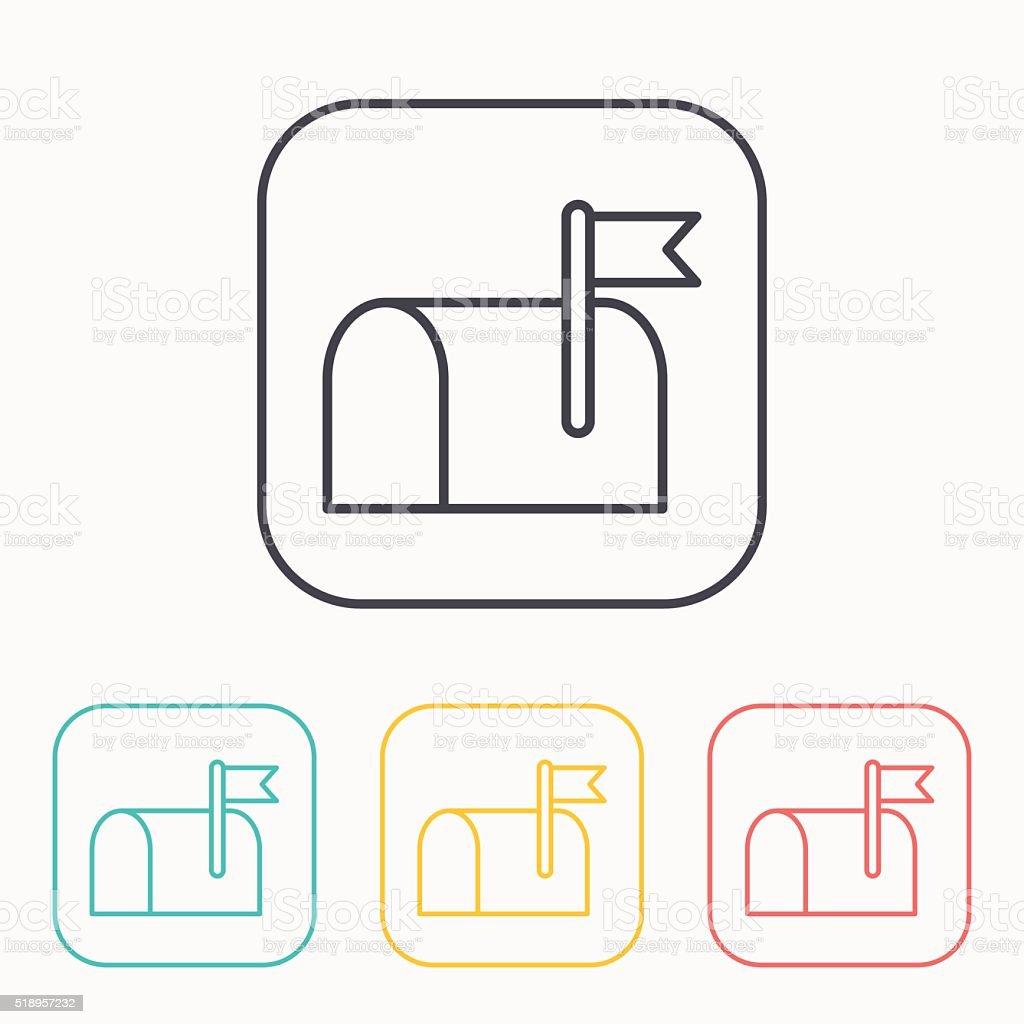 Mail box outline color icon set vector art illustration