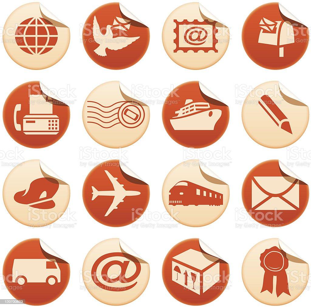 Courrier & autocollants de livraison stock vecteur libres de droits libre de droits