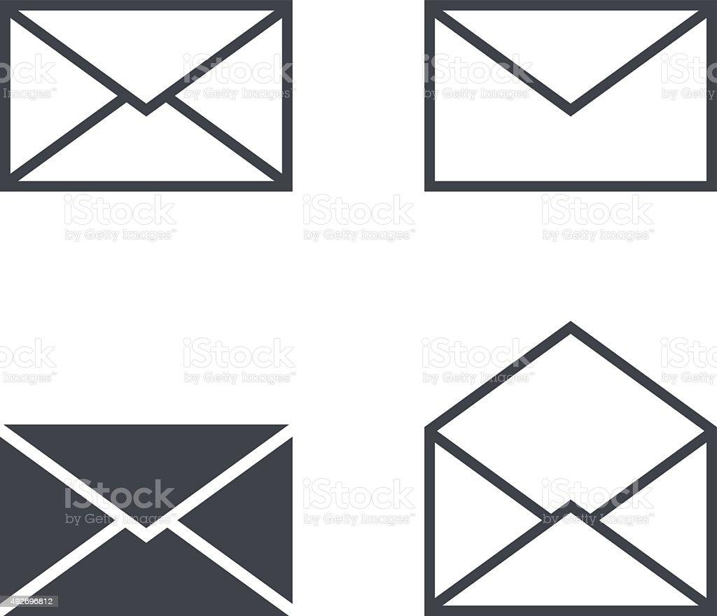 Mail envelope icon set, modern minimal flat design style icons vector art illustration
