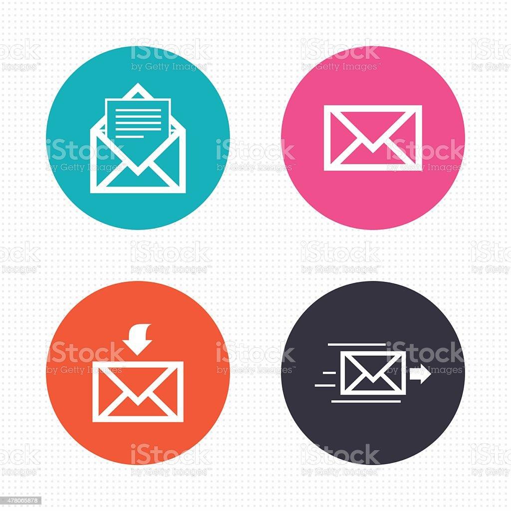Mail envelope icons. Message document symbols vector art illustration