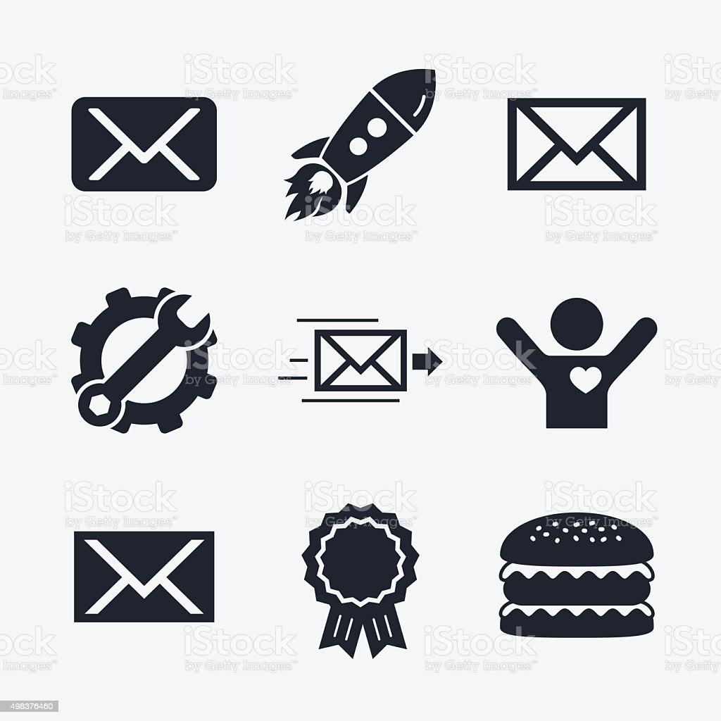 Mail envelope icons. Message symbols vector art illustration