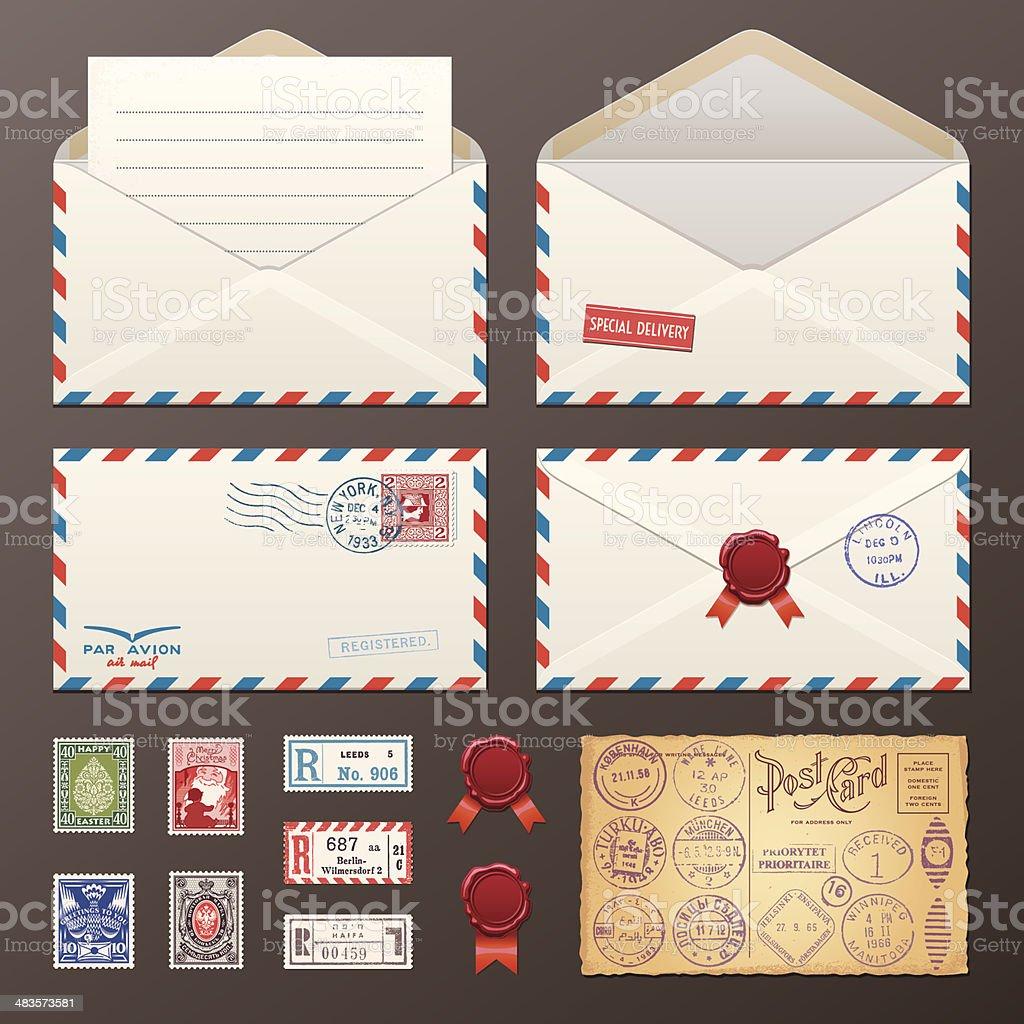 Mail Envelope, Stickers, Stamps, Postcard vector art illustration