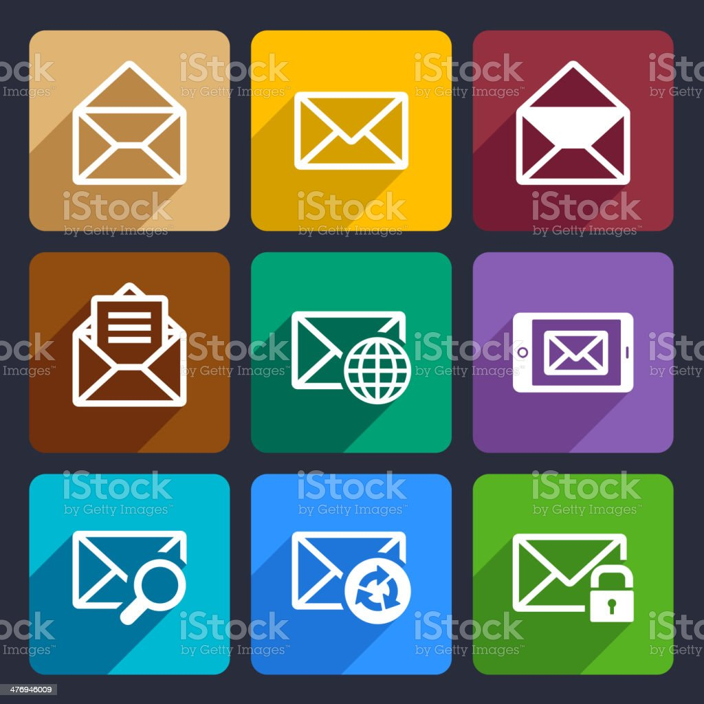Mail  Flat Icons Set 47 royalty-free stock vector art