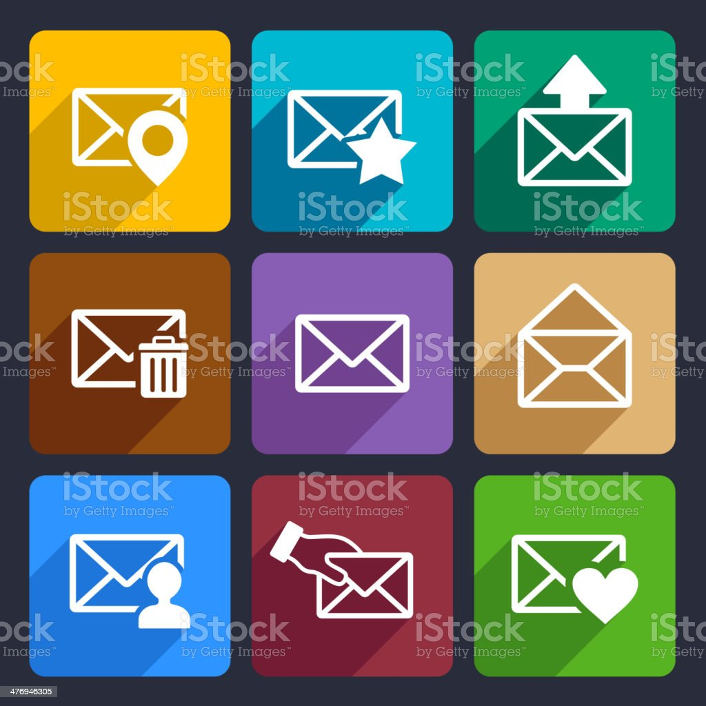 Mail  Flat Icons Set 48 royalty-free stock vector art