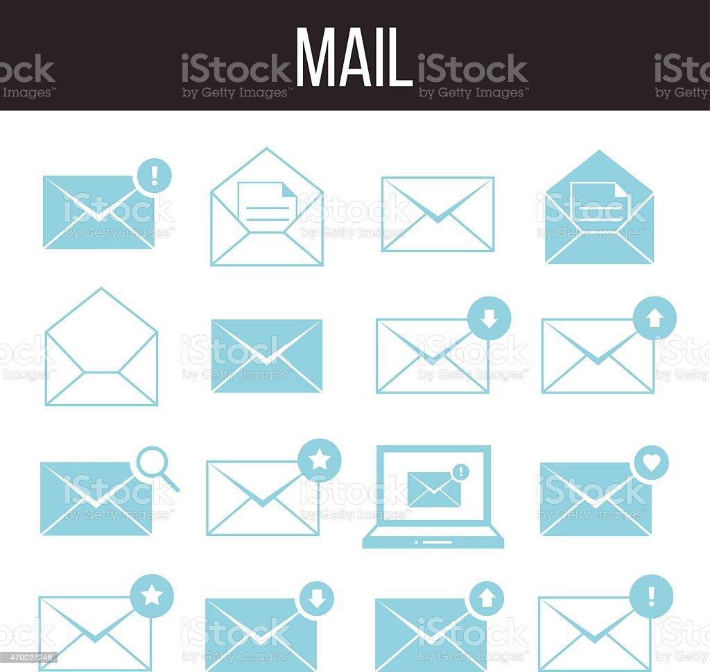 Mail icons set vector art illustration