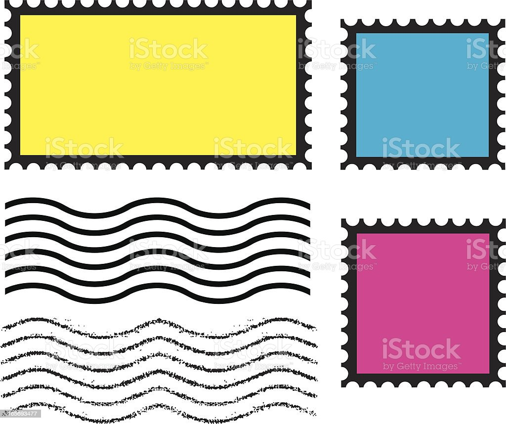 Mail Postage Stamps and Cancel Mark vector art illustration