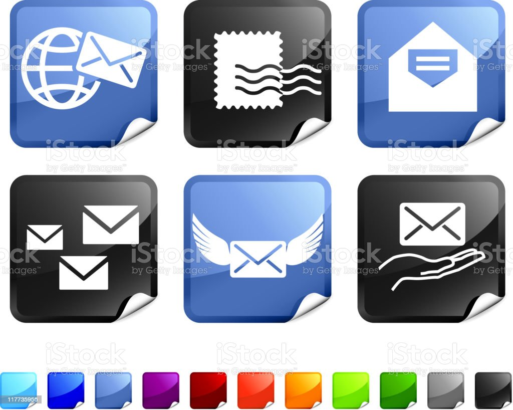 mail royalty free vector icon set royalty-free stock vector art