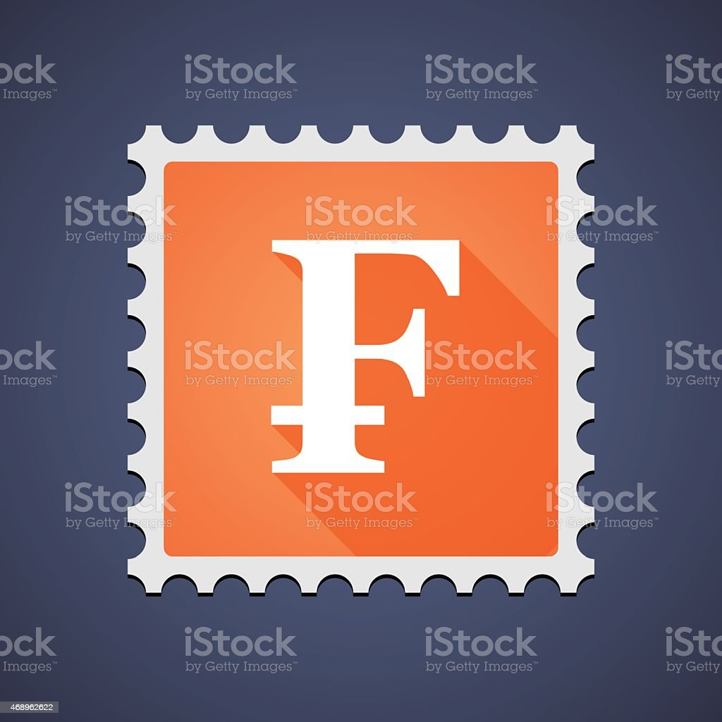 Mail stamp icon with a currency  sign vector art illustration