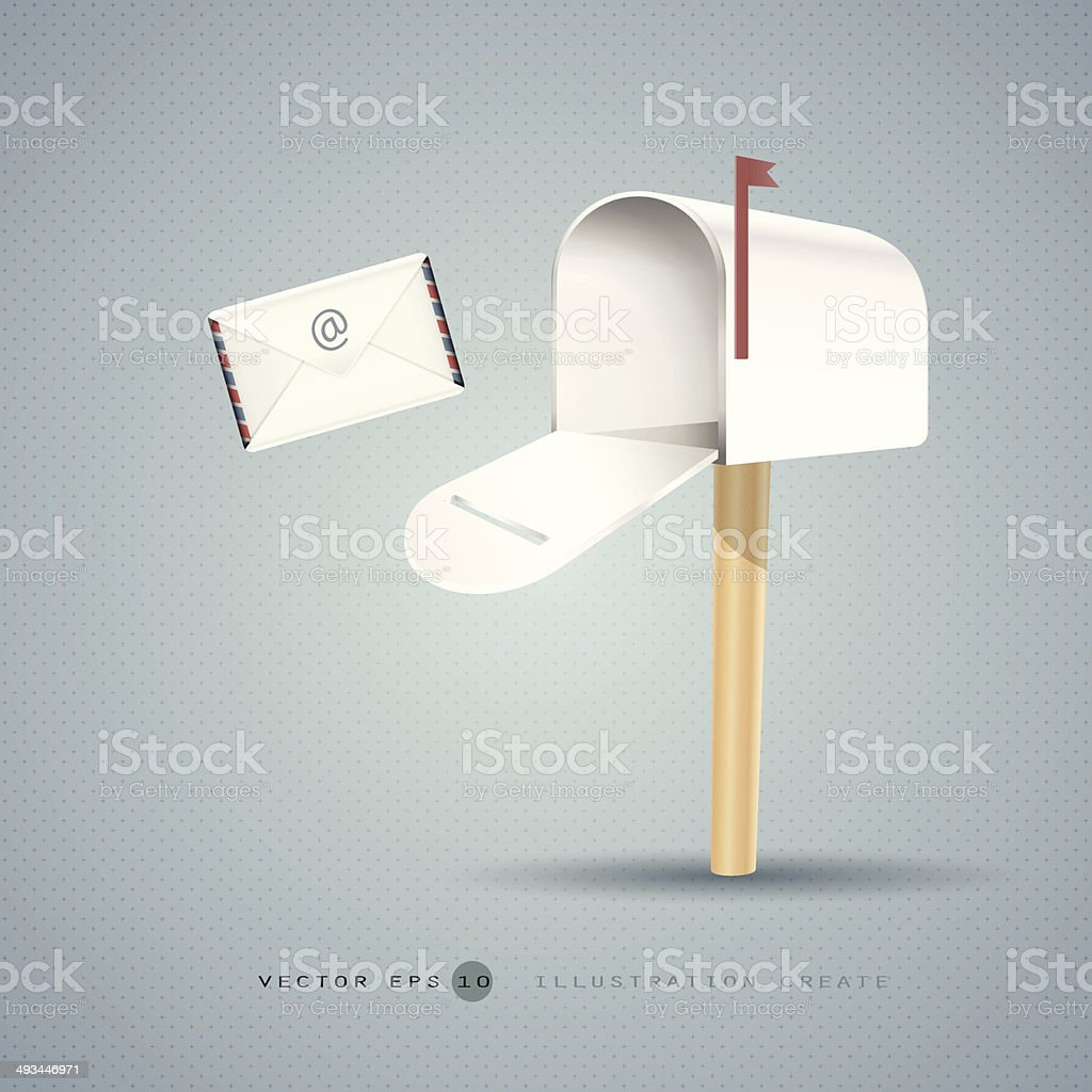 Mailbox and letter illustration concept of vector design vector art illustration