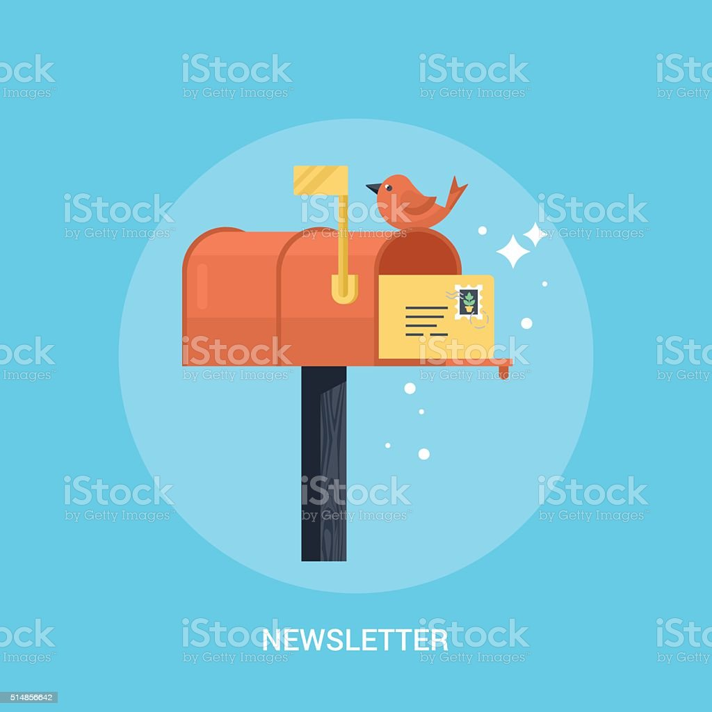 Mailbox flat modern icon. Concept of newsletter promotion vector art illustration