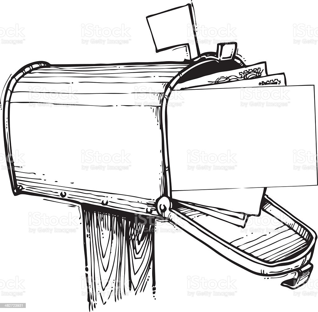 Mailbox Full of Mail royalty-free stock vector art