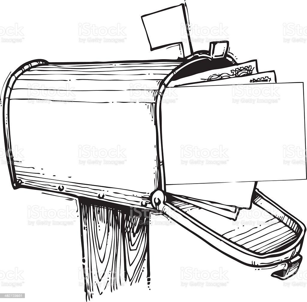 Mailbox Full of Mail vector art illustration