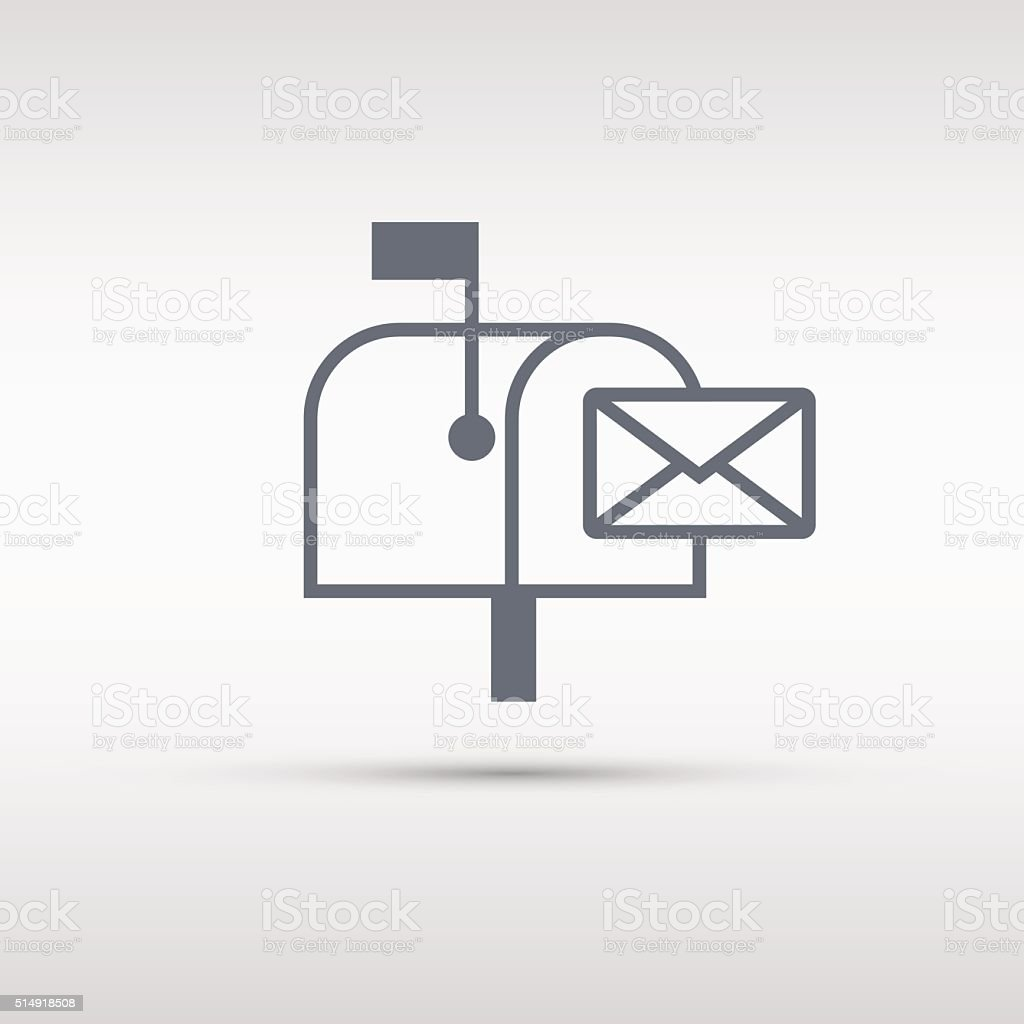 Mailbox icon. Mailbox sign or button isolated on grey background. vector art illustration