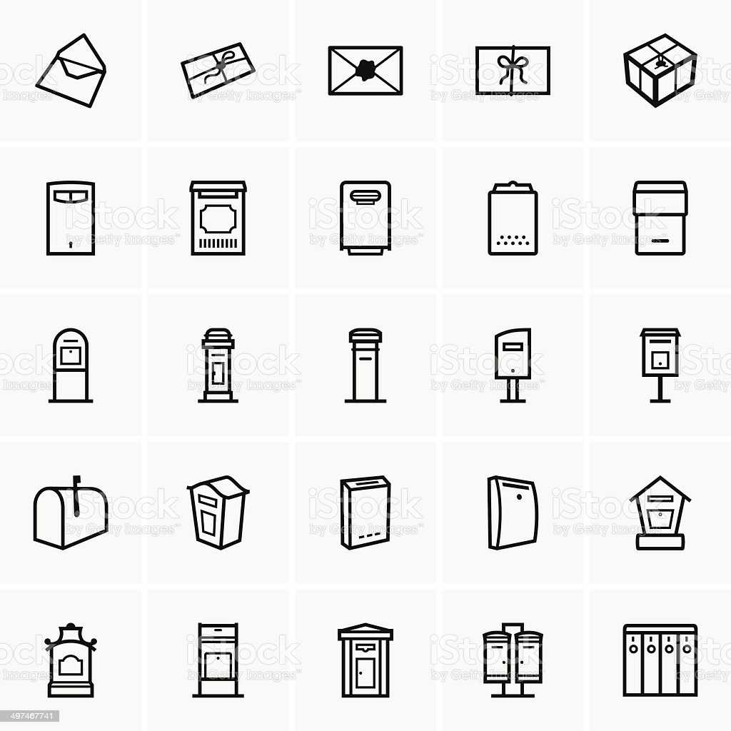 Mailbox icons vector art illustration