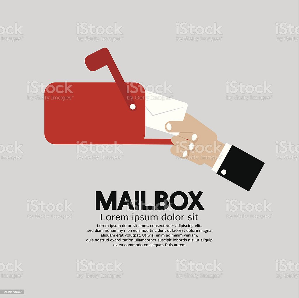 Mailbox Side View Vector Illustration vector art illustration