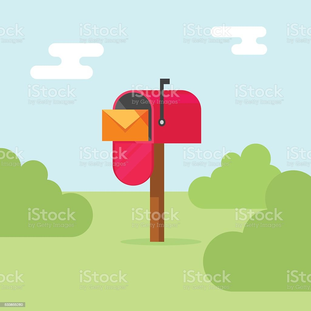 Mailbox vector illustration, post office box on nature vector art illustration