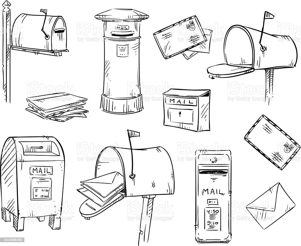 Mailboxes and letters, vector sketch vector art illustration