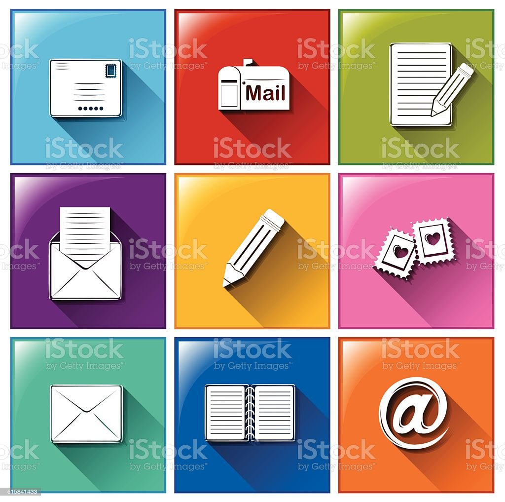 Mailing icons vector art illustration