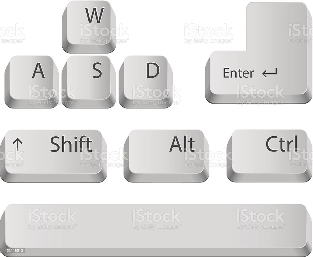 Main keyboard buttons. vector art illustration