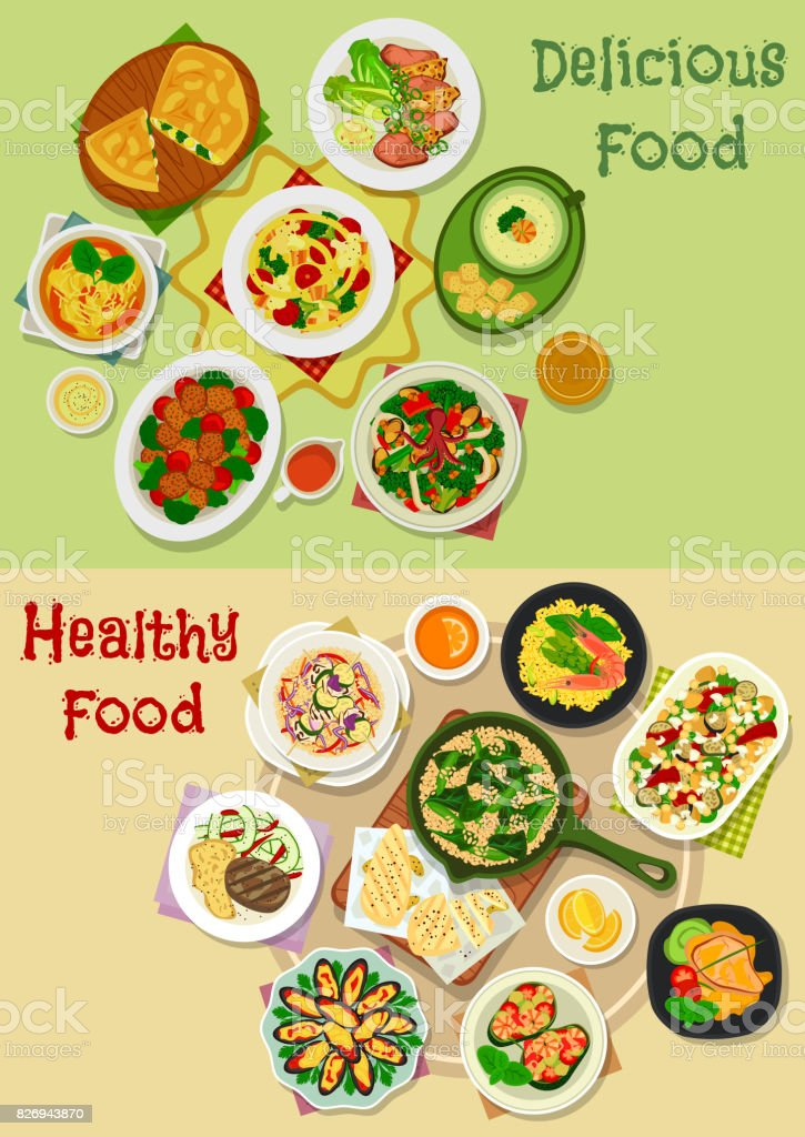 Main meal icon set for food theme design vector art illustration