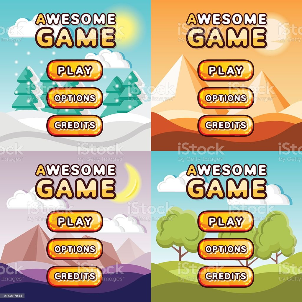 Main menu game interfaces kit. Forest, desert, canyon, hills backgrounds vector art illustration
