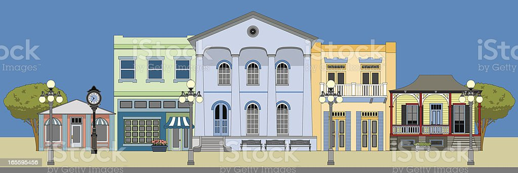 Main Street Buildings vector art illustration
