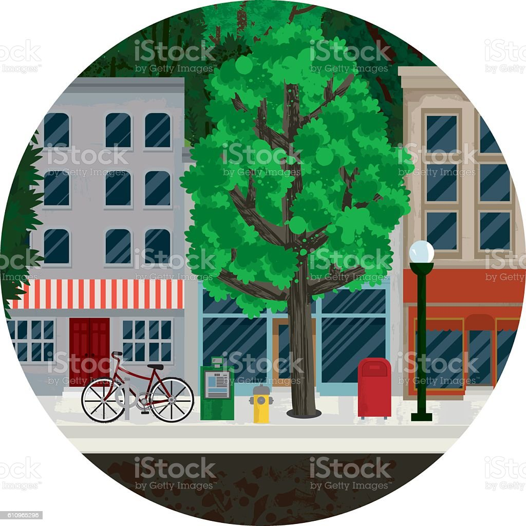 Main Street Illustration vector art illustration