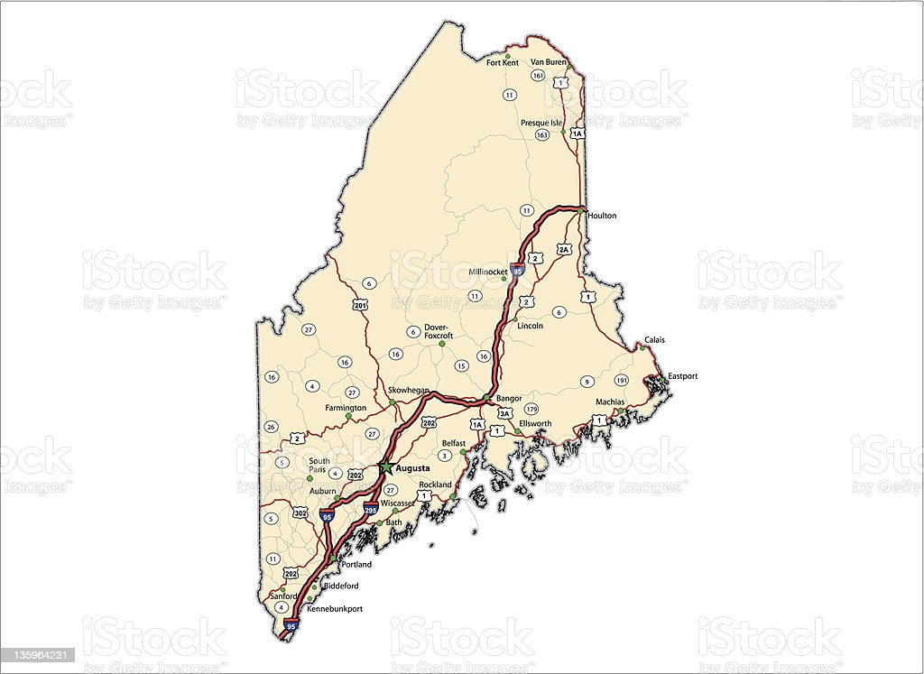 Maine Highway Map (vector) vector art illustration