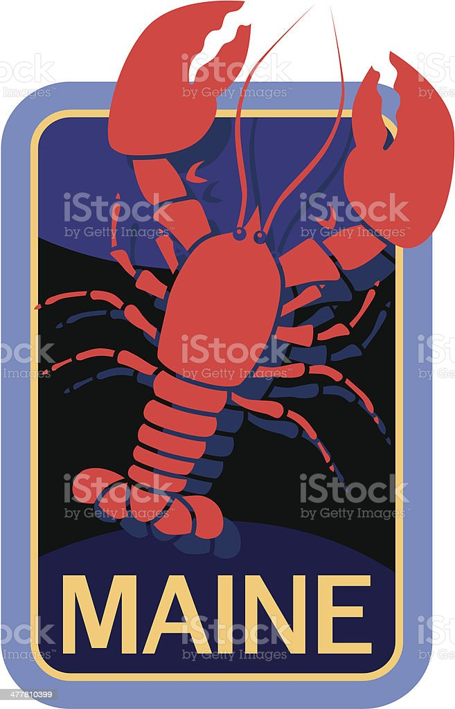 Maine lobster travel sticker or luggage label vector art illustration