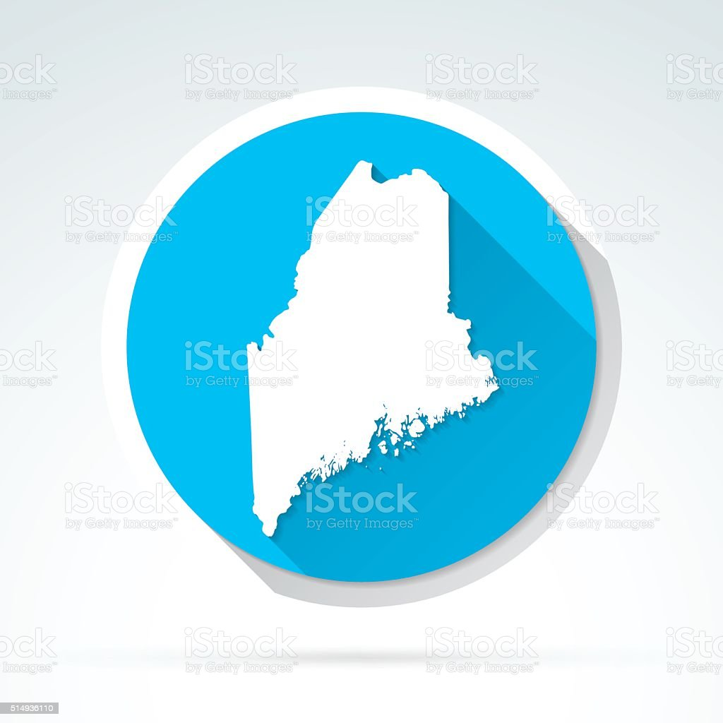 Maine map icon, Flat Design, Long Shadow vector art illustration