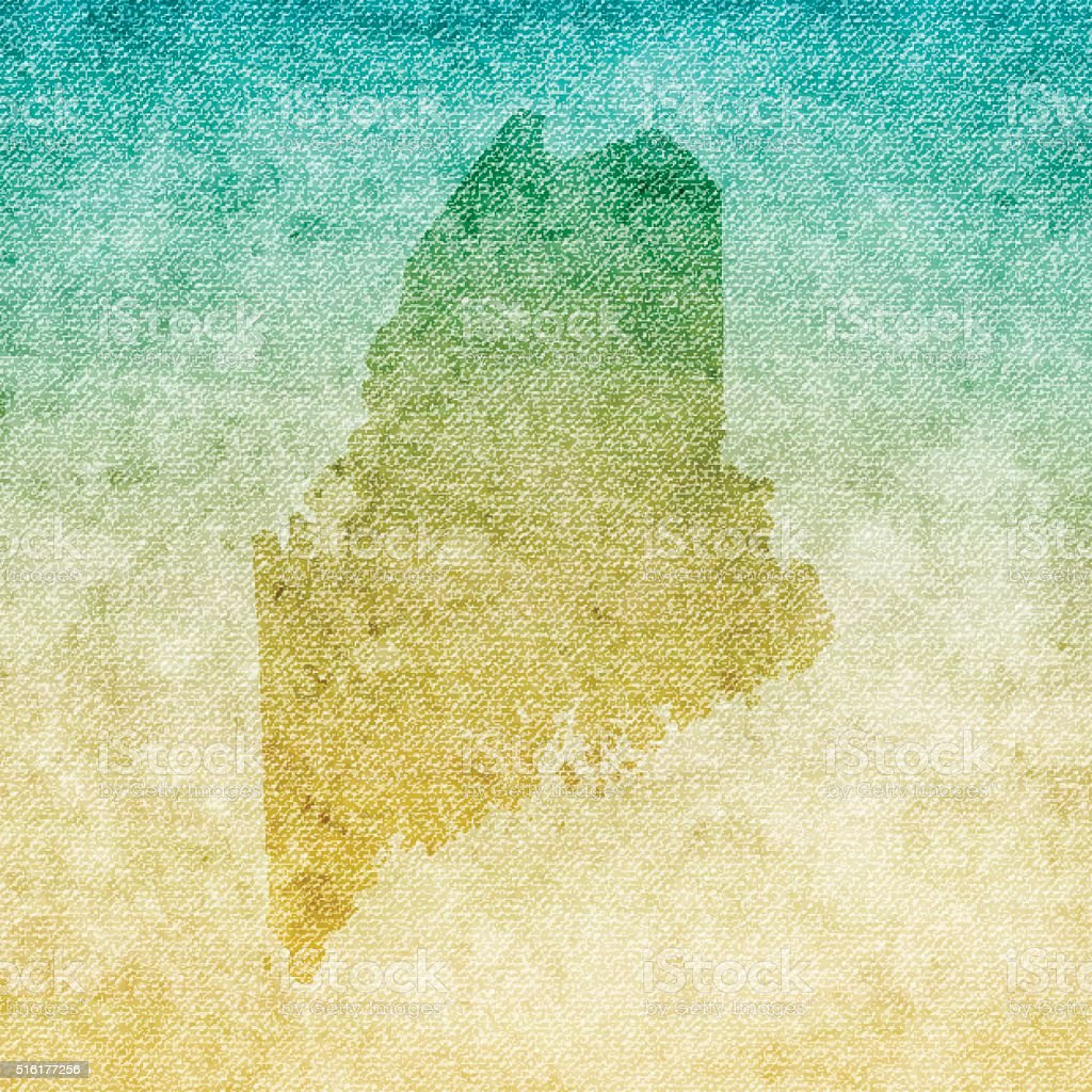 Maine Map on grunge Canvas Background vector art illustration