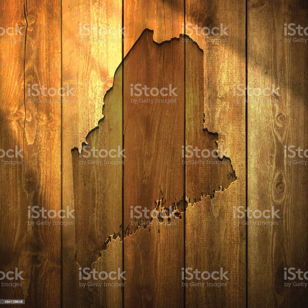 Maine Map on lit Wooden Background vector art illustration