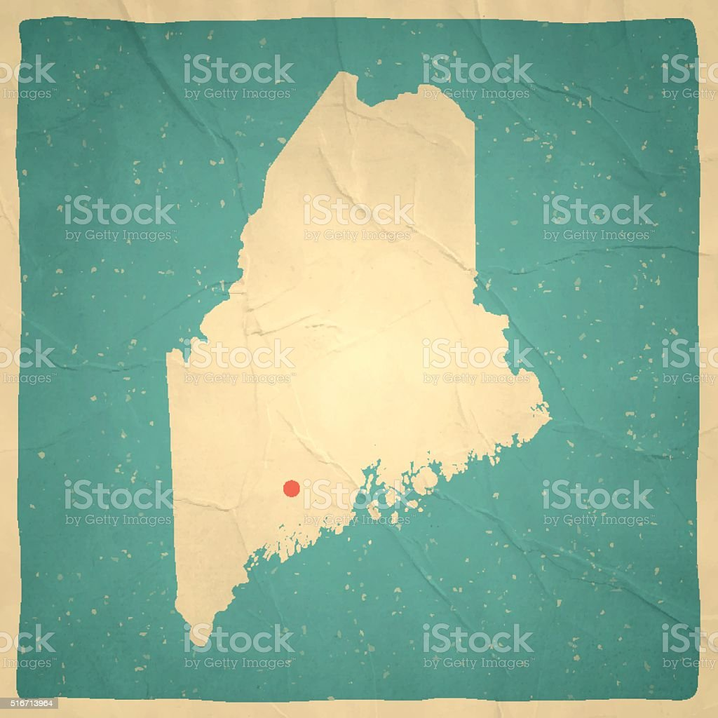 Maine Map on old paper - vintage texture vector art illustration