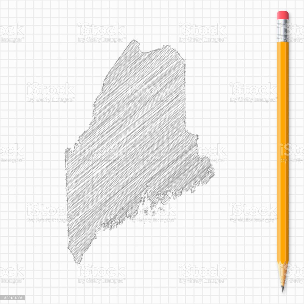 Maine map sketch with pencil on grid paper vector art illustration