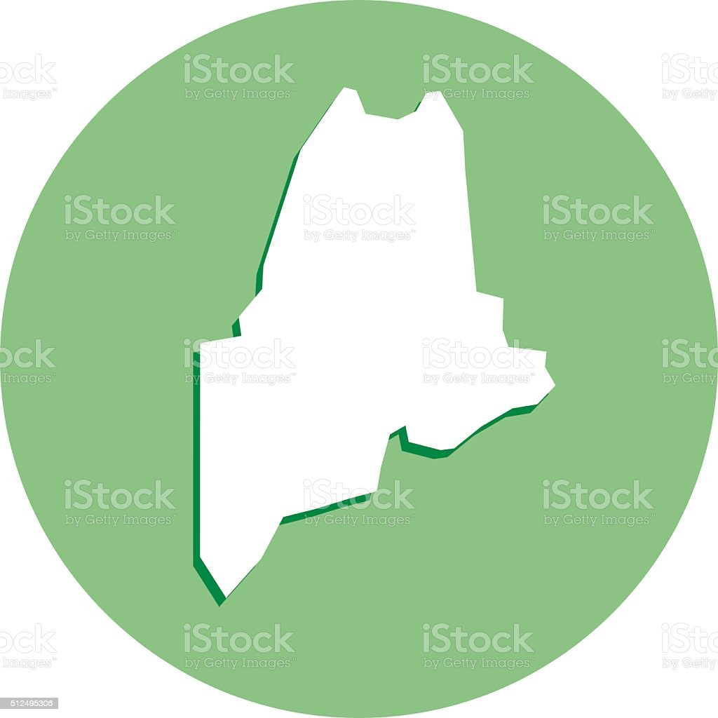Maine Round Map Icon Stock Vector Art  IStock - Maine on map of usa