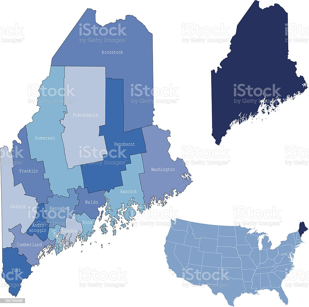 Maine State Counties Map Stock Vector Art  IStock - Maine on map of usa