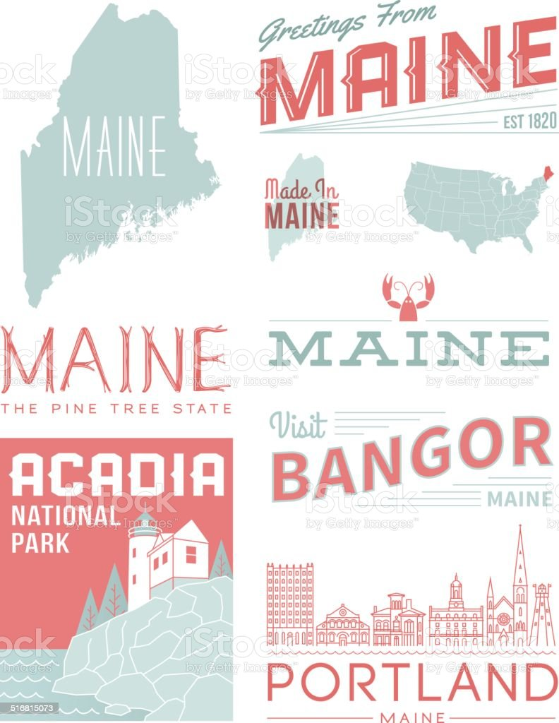 Maine Typography vector art illustration