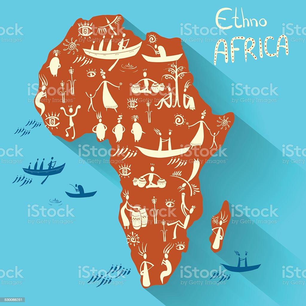 Mainland Africa in ethnic style vector art illustration