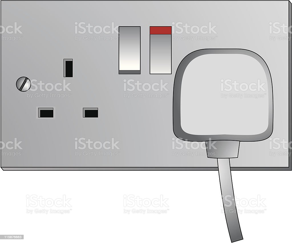 UK Mains power outlet - Vector illustration royalty-free stock vector art