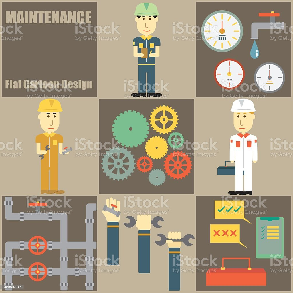 Maintenance People Flat Cartoon vector art illustration