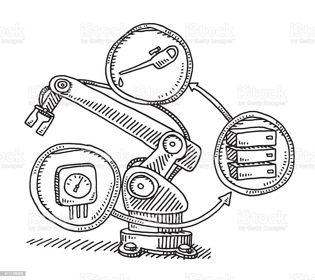 Maintenance Sensor On An Industry Robot Drawing vector art illustration