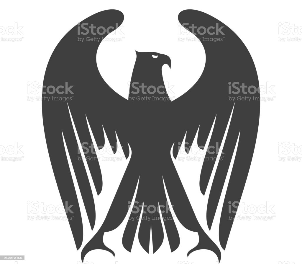 Majestic eagle or falcon with long wing feathers vector art illustration